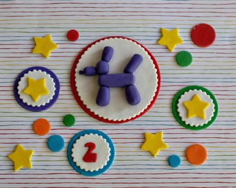 Fondant Balloon Animal, Polka Dots and Star Cake Decorations with Coordinating Age and Star Cupcake Toppers
