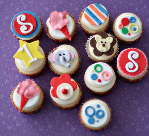 Circus Fondant and Age and Initial Toppers for Cupcakes, Cookies, Brownies or Mini-Cakes