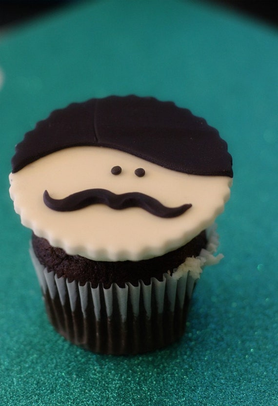 Mustache Men Fondant Face Toppers for Cupcakes, Cookies or Mini-Cakes