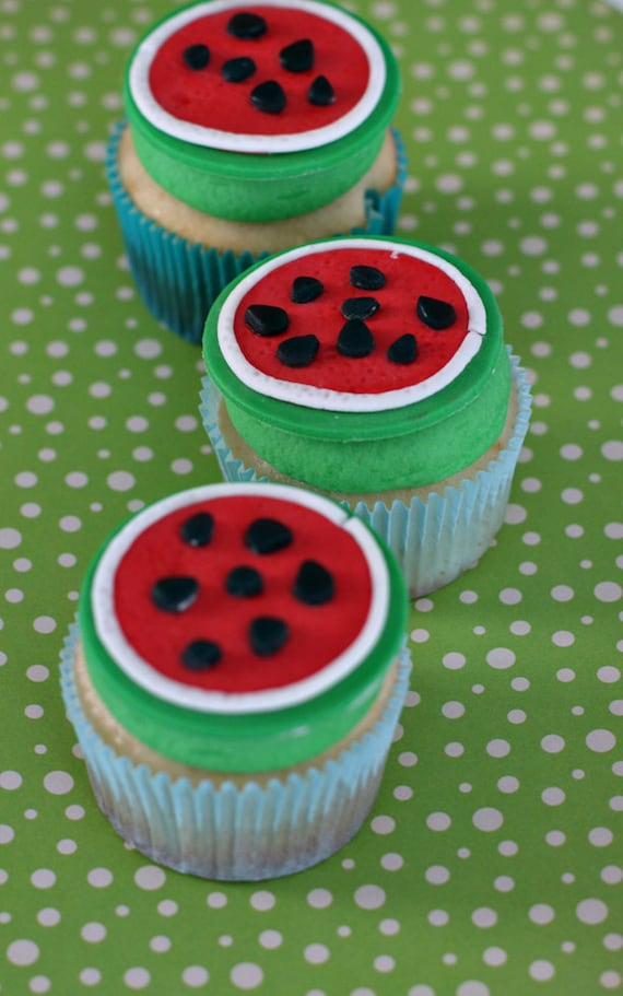 Watermelon Fondant Toppers for Decorating Cupcakes, Cookies or Mini-Cakes at a Summer Picnic