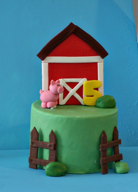 Fondant BarnYard Farm Cake Decorations for Decorating a Birthday or Other Special Cake