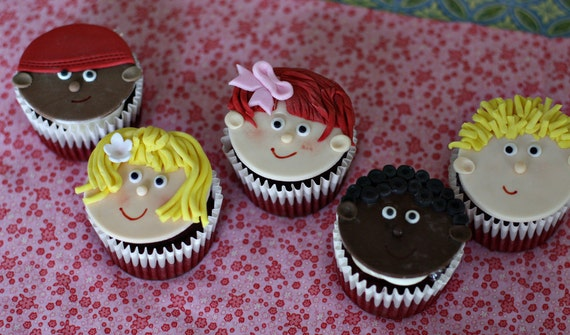 Fondant Kid Baby Face Toppers for Cupcakes, Cookies or other Special Treats