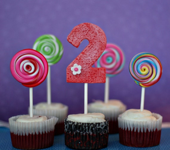 Lollipop and Age Fondant Toppers on a Stick for Cupcakes Perfect for your Candyland Themed Birthday Party