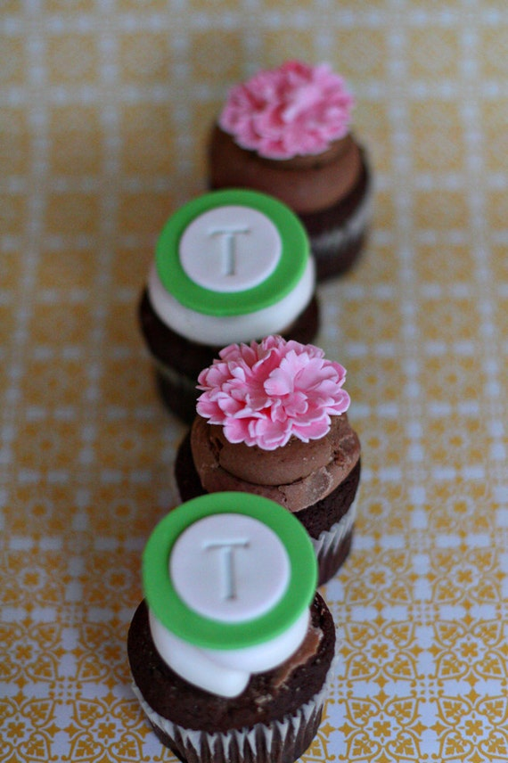 Carnation and Monogram Fondant Cupcake, Cookie or Mini-Cake Toppers for Birthday, Engagement, Baby Shower or Wedding Parties