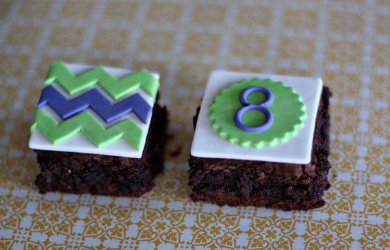 Fondant Chevron Stripe and Age Toppers for Decorating Brownies, Cupcakes, or Cookies