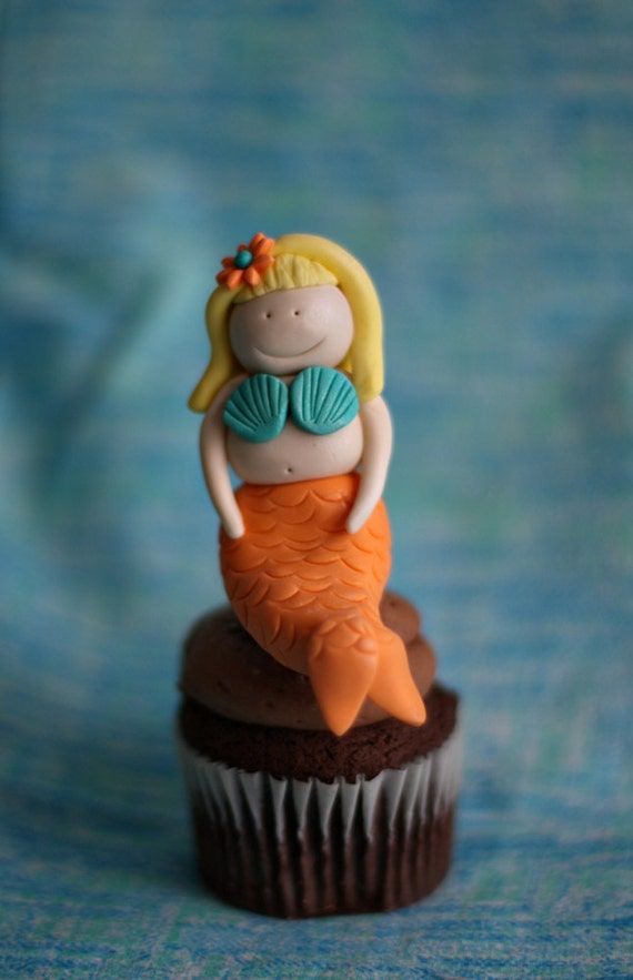 Fondant Mermaid Perfect for a Smash Cake or Cupcake or a Birthday Cake