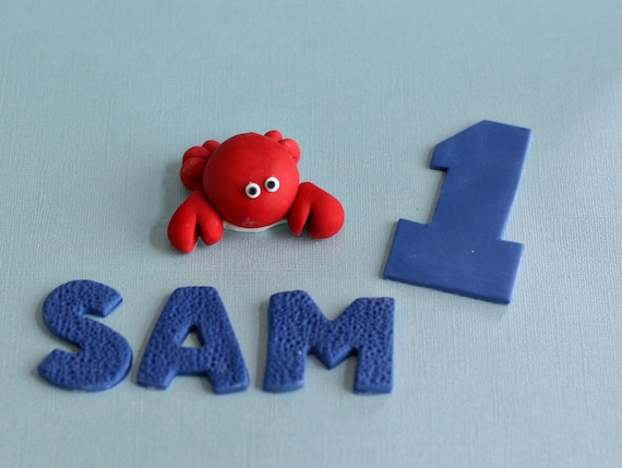 Fondant Crab, Age and Name Cake Decorations Perfect for a Smash Cake or Birthday Cake