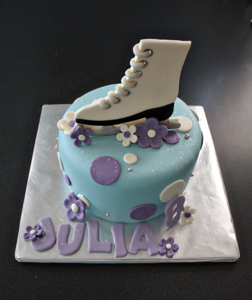 Fondant Ice Skate Cake Topper with Polka Dots Flowers Name
