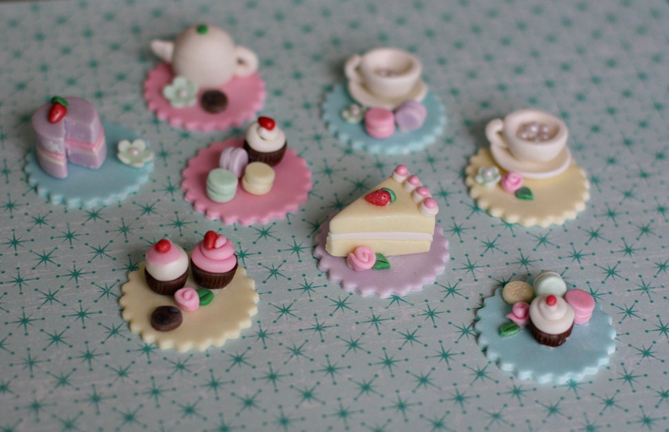 Cake Toppers On Fondant : Fondant Tea Party Toppers with Teapot Teacups Macaroons