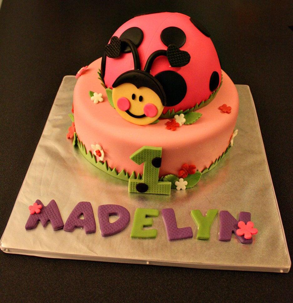 Cake Decorating Ideas Ladybugs : Ladybug Fondant Ladybug Cake Topper with Matching Flowers Age