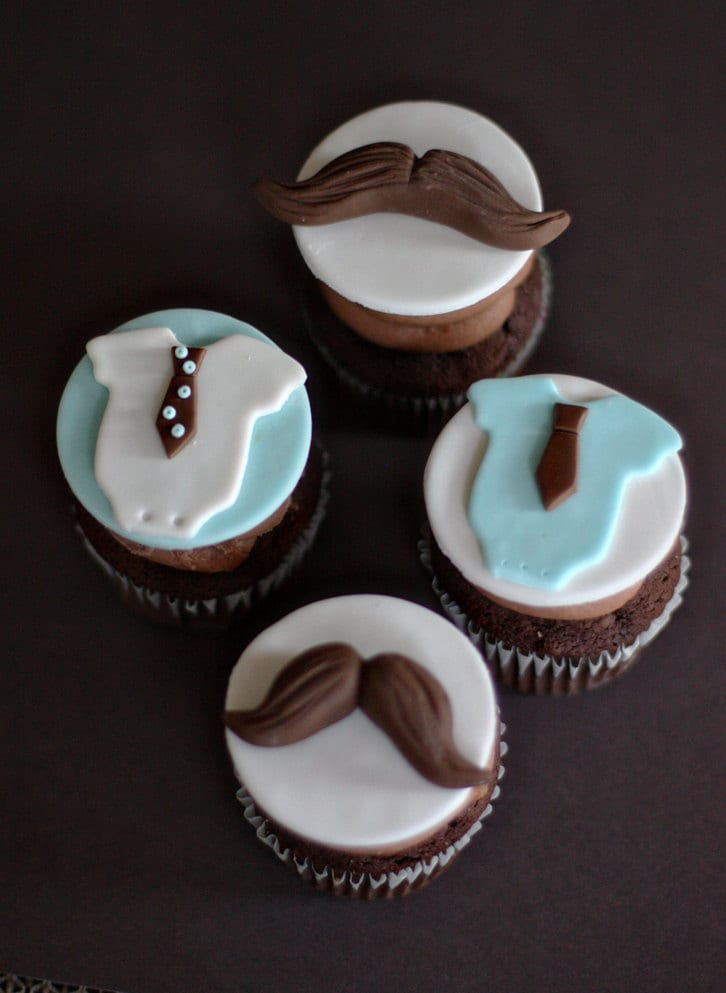 Fondant Mustache Tie And Bow Tie Onesie Toppers For Birthday