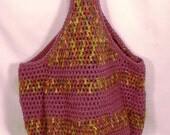 Crochet Purple and Green Market Tote Bag