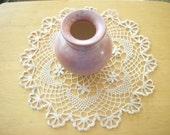 Crochet Doily - Ecru Floral Bouquet Round Cotton