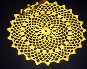 Crochet Doily Yellow Round Medium Tabletop