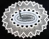 Crochet Doily White Wedgewood Blue Oval Handmade