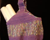 Crochet Purple Lavender and Pastels Grocery Tote Bag