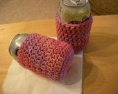 Pair of Beverage Can Cozies or Koozie Absorbent Cotton