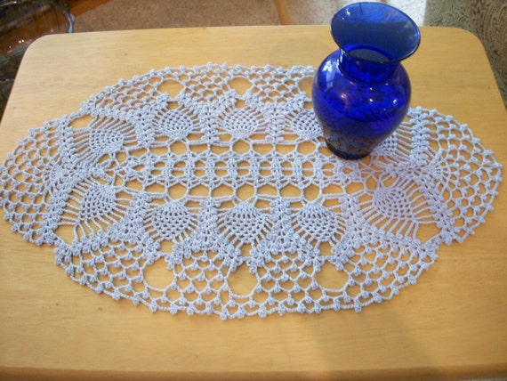 Crochet Doily - Oval Periwinkle Blue Pineapples