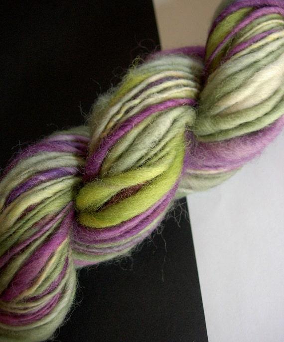 Handspun Yarn - Grapes, Falkland wool, thick and thin, single ply, bulky weight