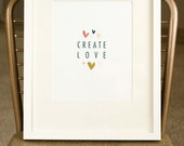 Create Love 8.5x11 Vintage Poster