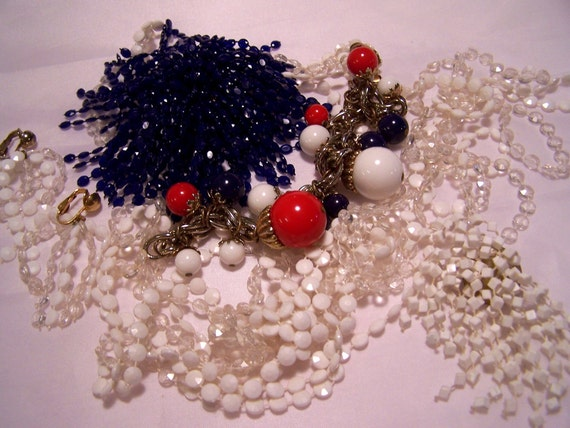 Red White and Blue Brooch Bracelet Necklace and  Earrings Destash