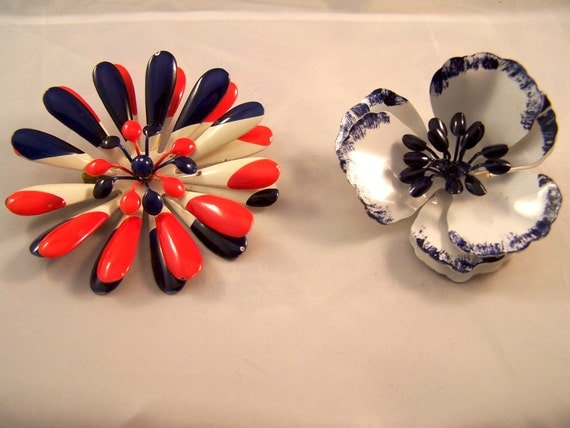 Red  White and Blue  Enamel Fower Brooches