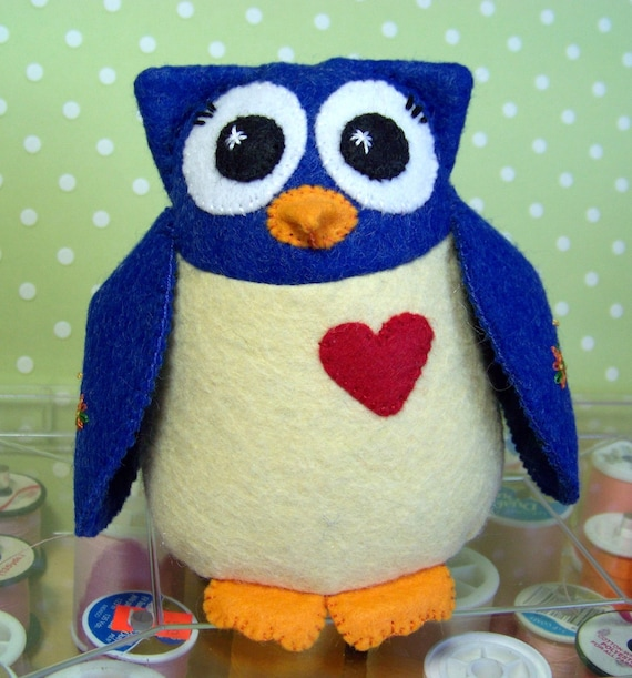 Saphire Blue & Pale Yellow Wool Felt Owl Pincushion