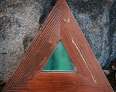 Rustic Reclaimed Triangle Mirror Honey Brown