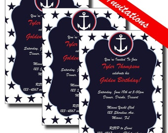 4th of July Party Invitation | Nautical Baby Shower Invitation | Nautical Birthday Invitation | Nautical Birthday Party | Milestone Birthday