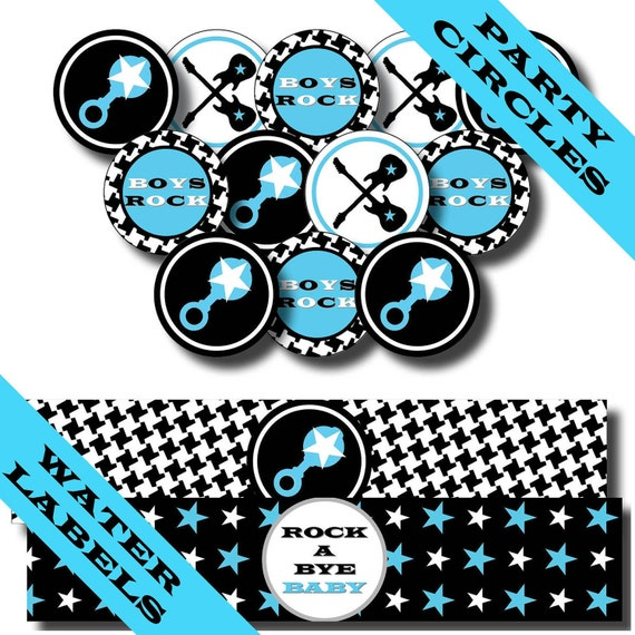 ROCK and ROLL Birthday Party - Rock a Bye Baby Shower - Printable INVITE and Party Decorations