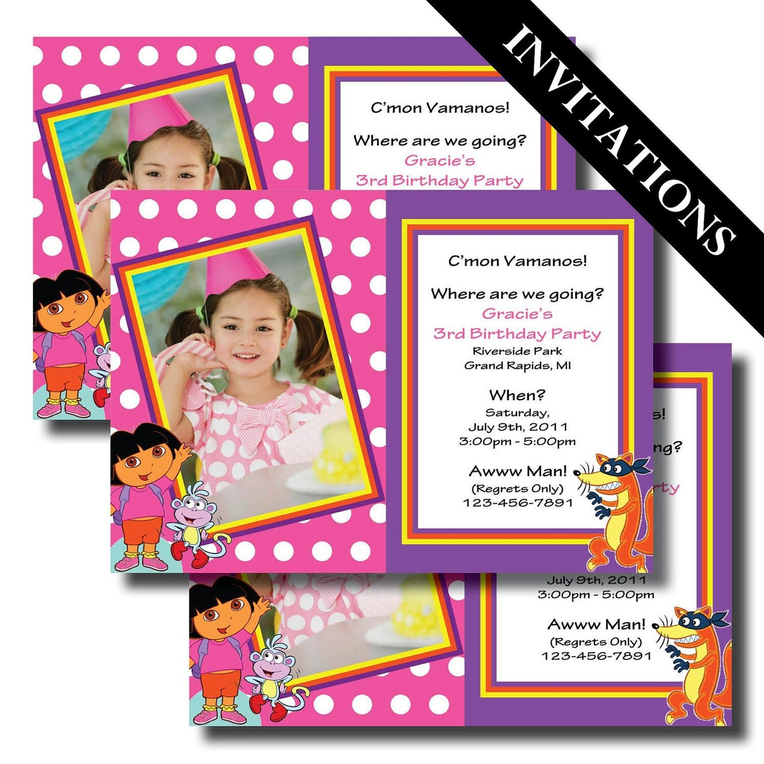 Dora the Explorer Dora Dora Invitations Dora Birthday Dora – Printable Dora Birthday Invitations