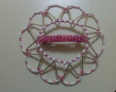 Young Girls Beaded Barrette Kippah - Pink & White