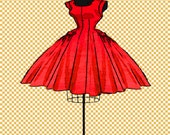dress form party dress 50's digital stamp mannequin digi stamp resizable, transparent background, photoshop layer