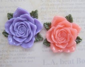 2 Pcs 2 Color-Resin Flower Cabochons (Color See Photo) 40mm