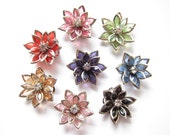 8 Pcs - Mix 8 Color Tiny Acrylic Rhinestone Flower Red, Pink,Green,Light Pink,Orange,Blue,Black,Brown Cabochons 23x 7mm Thick