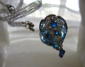 Vintage Inspired Blue Heart Perfume Bottle Necklace