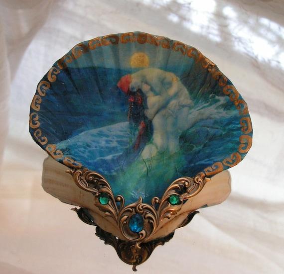 Midnight Blue Mermaid Lovers Shell Jewelry Dish