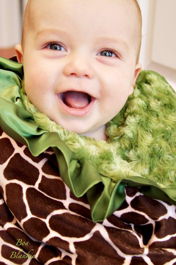 CUSTOM minky baby blanket-YOU CHOOSE Animal print & Color-Toddler size-Chennille fur Minky-ruffled satin trim-BoaBlankie