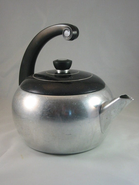 RESERVED Vintage 1950s Kettle / Teapot - Deco Aluminum - FEATURED in TREASURY