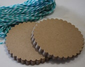Die Cut Circle Embellishments - Kraft and White - 60 Pieces