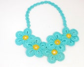 SALE Teal Crocheted Necklace, Floral Statement Necklace,Necklace Irish Crochet Lace Flower Necklace    Crochet Necklace Crochet