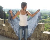 Blue Wraps Shawl, Blue shawl with a touches of white and purple Wraps Shawl, Knit Shawl, Womens Knit Shawl, Women's Clothing Accessories