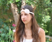 Fashionable and comfortable White with a touches of golden knitted headband  with flower          with           ith flower
