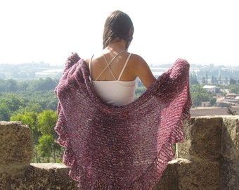 Wraps Shawl  Knitted shawl Shawl wrap Red Shawl with a touches of cream and blue Women's Clothing Accessories