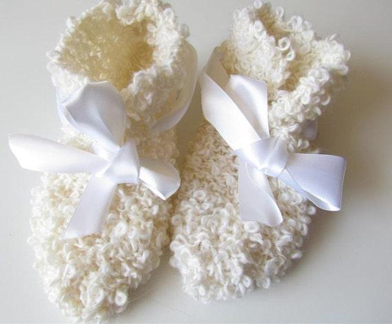 White SLIPPERS - hand crochet
