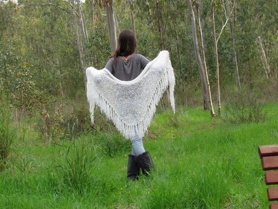 White Wraps Shawl, Long Fringe Scarf, Off white knit Scarf , Womens Clothing Accessories