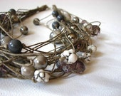 Entangled in the Gray - linen necklace
