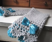 Victorian lace mittens grey - turquoise