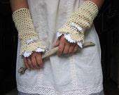 Cream Victorian lace mittens