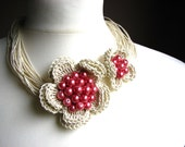 Pearls Pink  Flowers - linen necklace
